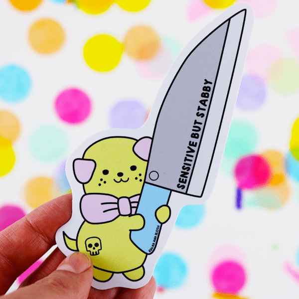 Stabby puppy cute funny phone sticker