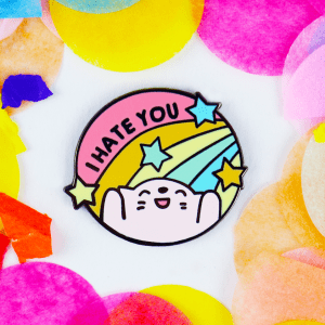 I hate you rainbow cute kwaii enamel pin