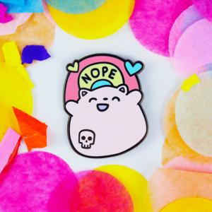 Nope Rainbow Cute Kawaii Enamel Pin