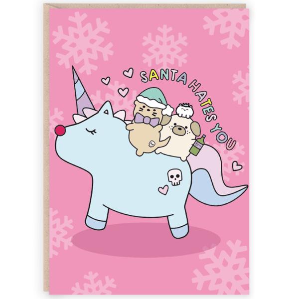 Santa hates you funny christmas card