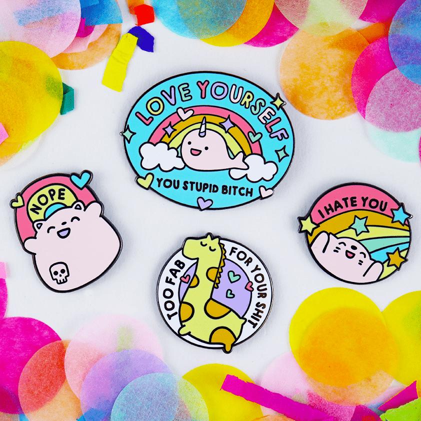 Love yourself mental health enamel pins