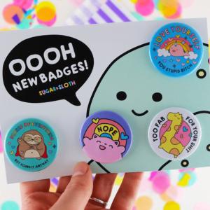 Cute button badge set