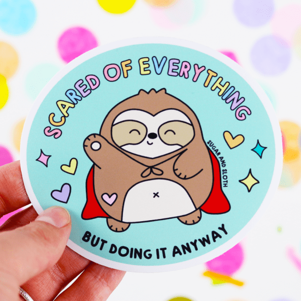 Scaredy Sloth Vinyl Sticker