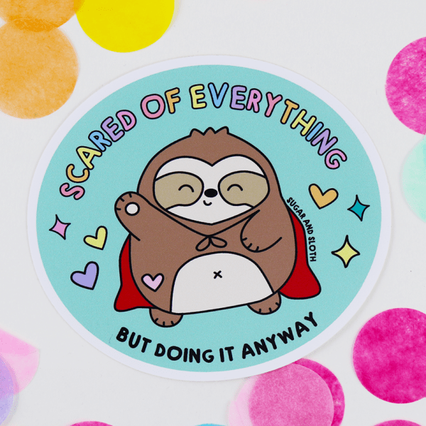 Scardy Sloth Vinyl Sticker