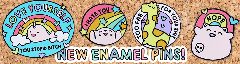 kawaii cute and funny mental health enamel pins
