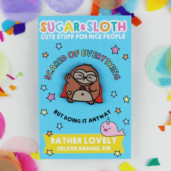 Scaredy Sloth hard enamel pin
