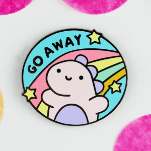go away dinosaur enamel pin