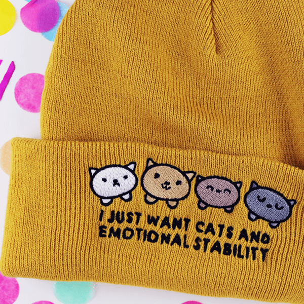 I just want cats and emotional stability beanie mustard yellow