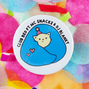 DJ Blanky cute introvert button badge