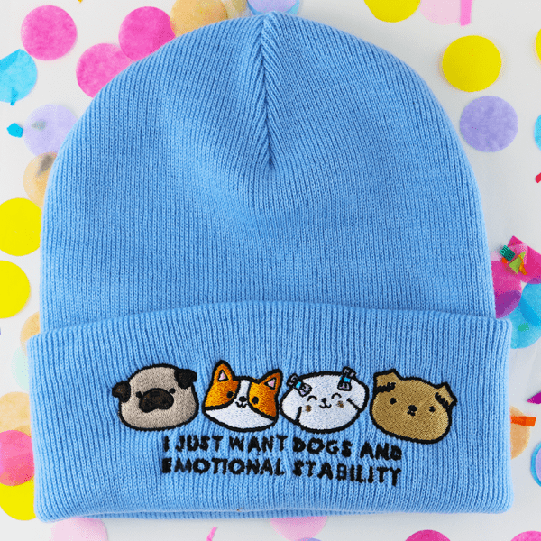 I just want dogs and emotional stability cute beanie hat