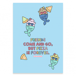 Mermaid pizza postcard
