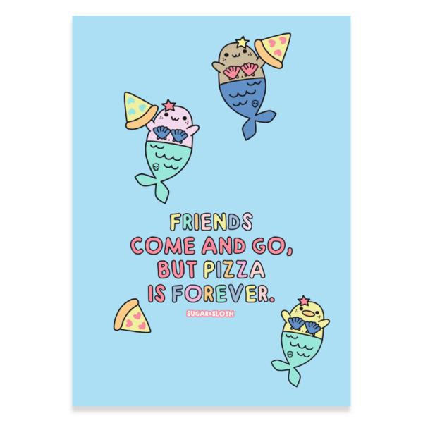 Mermaid pizza postcard
