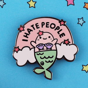 I hate people enamel pin