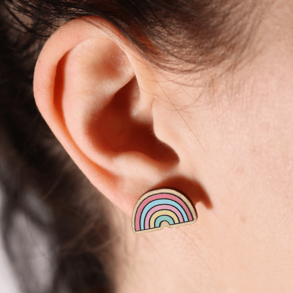 Narwhal and rainbow stud earrings