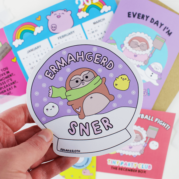 Sloth Snowball Fight Enamel pin subscription box