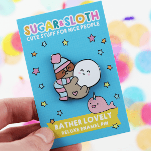 snow ball sloth enamel pin