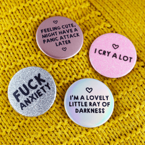 Anxiety glitter badges