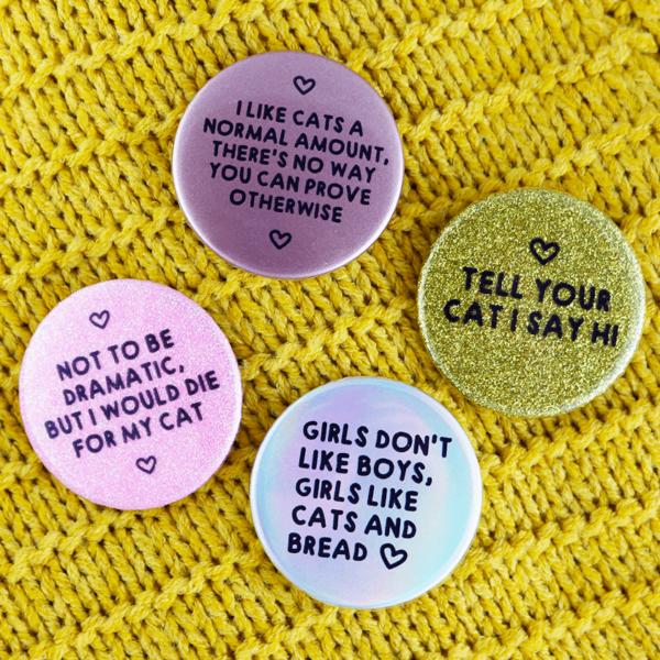 Cat love button badges