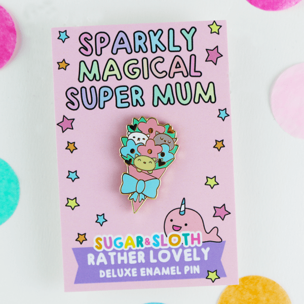 mothers day flowers enamel pin