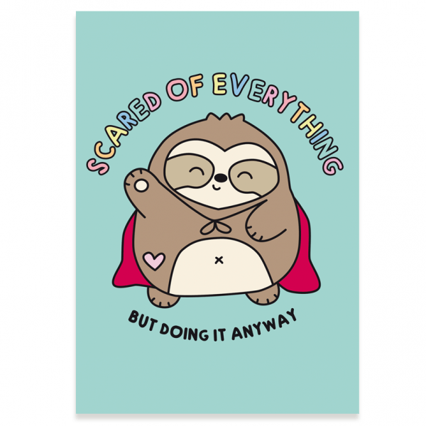 Scared of everything sloth postcard