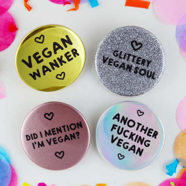 Funny Vegan Button Badges