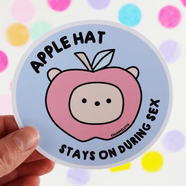 Apple hat stays on during sex meme sticker
