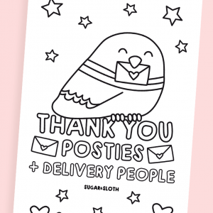 thank you postie colouring in sheet