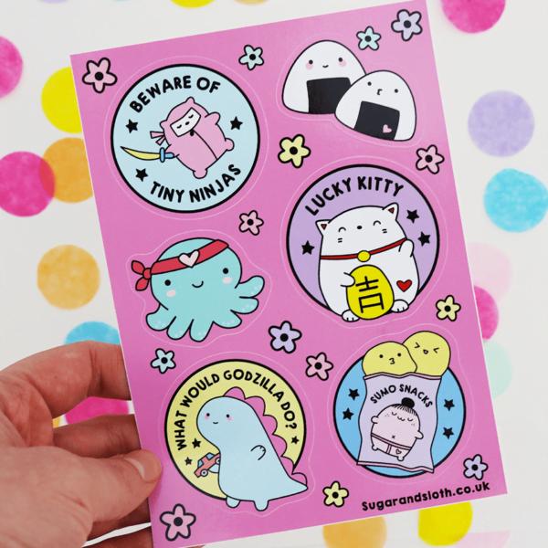 Kawaii Tokyo Sticker Sheet Sugar Amp Sloth