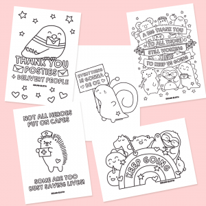 Colouring sheet downloads key worker thank yous
