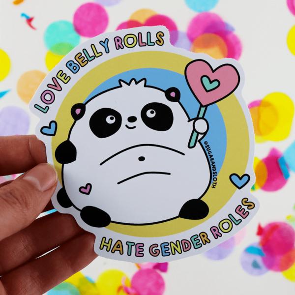 Love belly rolls panda sticker