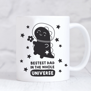 bestest dad mug space dino