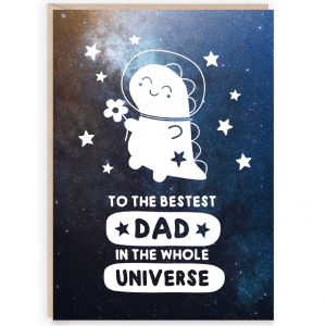 Space dinosaur dad card