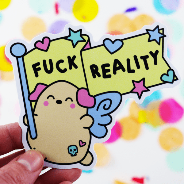 Fuck reality puppy sticker