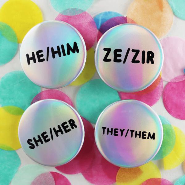 Holographic Pronoun badges