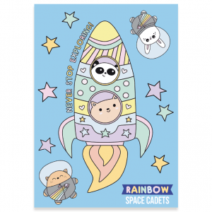 Cute rainbow rocket postcard