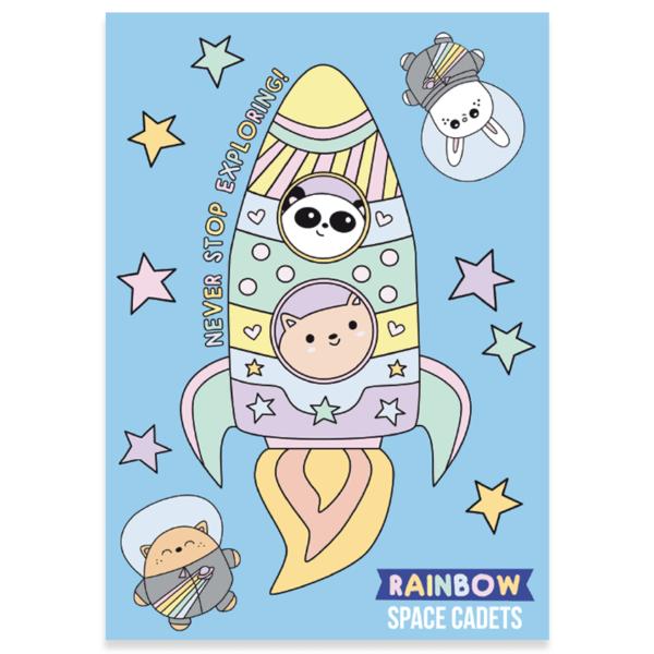 Cute rainbow rocket postcard