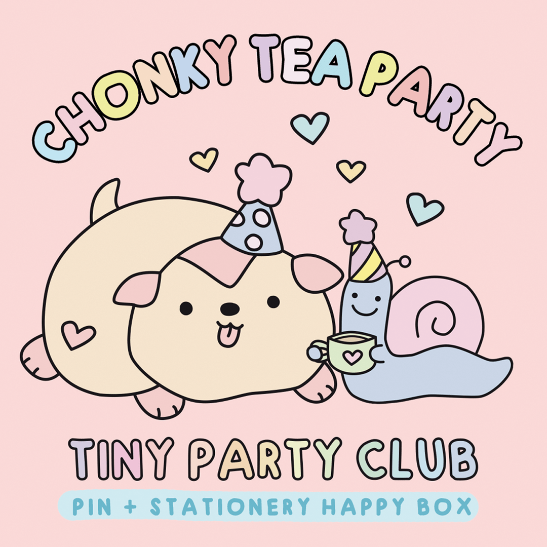 Tiny Party Club enamel pin and stationery subscription box