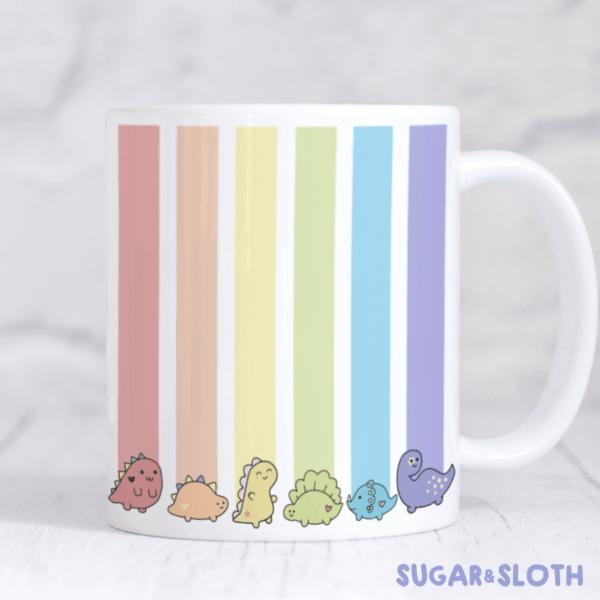 rainbow dinosaur pride mug