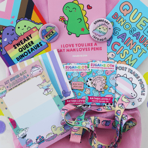 sweary queer dinosaur pin and stationery box