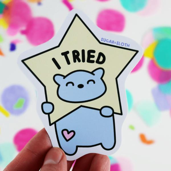 I tried cute vinyl sticker