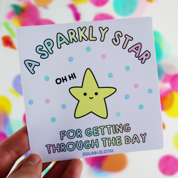 sparkly star vinyl sticker