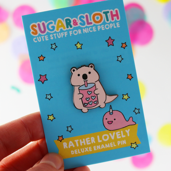 Quokka bubble tea cute enamel pin
