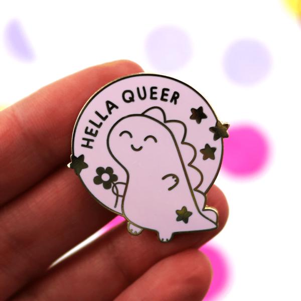 hello queer dinosaur enamel pin