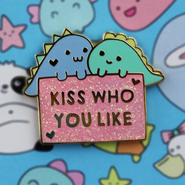 kiss who you like enamel pin