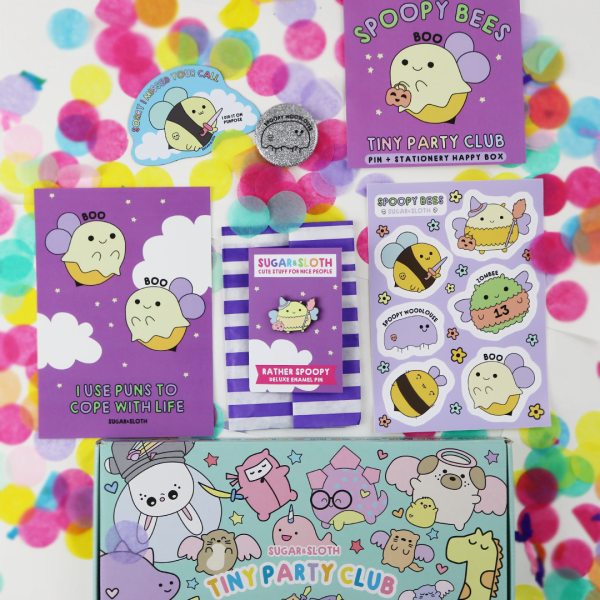 enamel pin and stationery subscription box