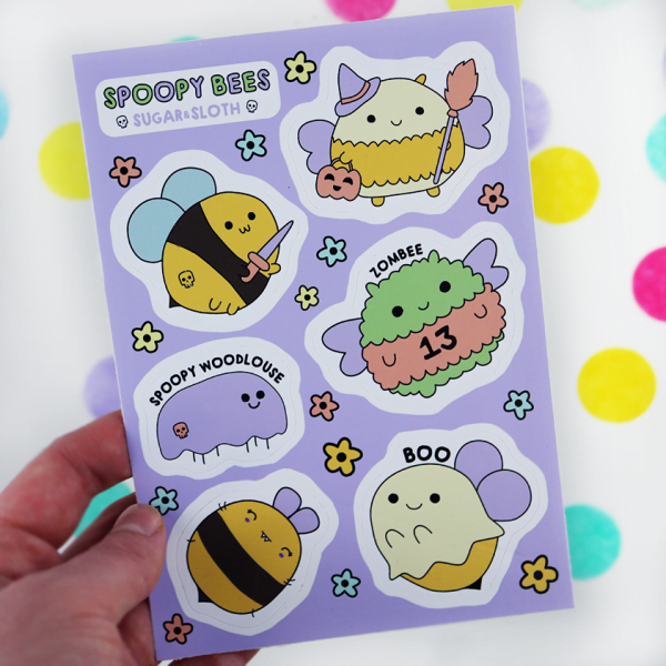 spooky bee stickers