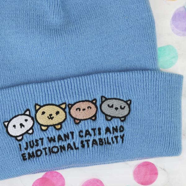 I just want cats and emotional stability beanie hat blue