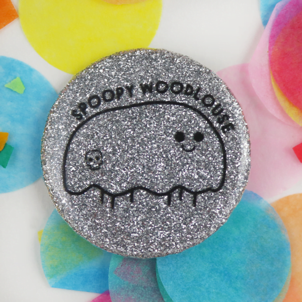 Sparkly woodlouse button badge