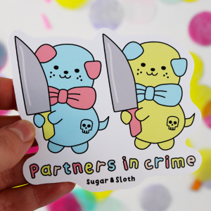 funny partners in crime vinyl sticker