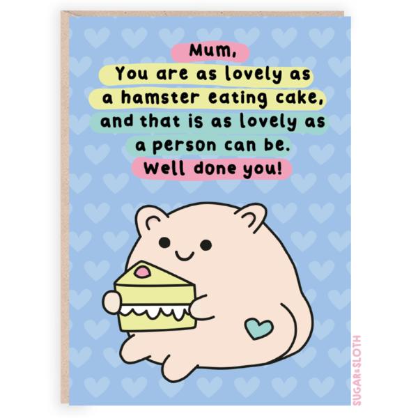 lovely mum card hamster
